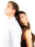Young beautiful caucasian heterosexual couple. Over white background Royalty Free Stock Image