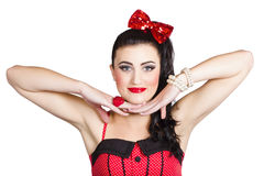 Young beautiful caucasian pin up woman posing Royalty Free Stock Photos