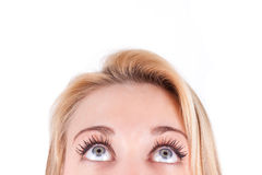 Young  beautiful caucasian  teenage girl looking up -  Stock Photography