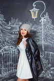Young beautiful caucasian woman on background of drawing winter Royalty Free Stock Images