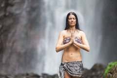 Woman at waterfall Royalty Free Stock Photos