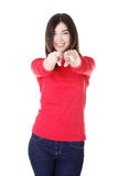 Young beautiful caucasian woman pointing on you Stock Image