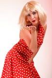 Young beautiful caucasian woman posing retro Stock Photography