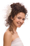 Young beautiful cheerful bride. Stock Photo
