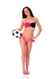 Young beautiful cheerleader with soccer ball. Full length beauti Stock Photos