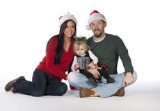 A young beautiful Christmas Family Royalty Free Stock Photos