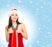 Young and beautiful Christmas shopper girl Stock Photography