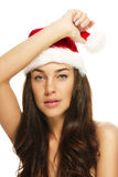 Young beautiful christmas woman wearing santas hat Royalty Free Stock Images