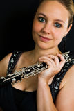 Young beautiful clarinetist Stock Photos