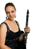 Young beautiful clarinetist Stock Photography