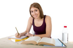 Young beautiful college student girl studying happy confident and positive Stock Image