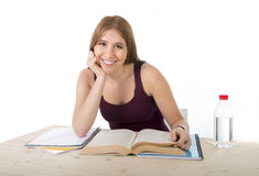 Young beautiful college student girl studying happy confident and positive Stock Photography