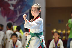 A young and beautiful competitor--The seventh GoldenTeam Cup Taekwondo friendly competition Royalty Free Stock Images