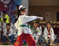 A young and beautiful competitor--The seventh GoldenTeam Cup Taekwondo friendly competition Stock Image