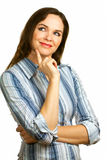 Young beautiful and contemplative business woman Royalty Free Stock Image