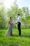 Portrait of a pregnant couple. Young beautiful couple in anticipation of a child stock photos
