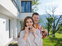 Young beautiful couple in bathrobes Royalty Free Stock Image