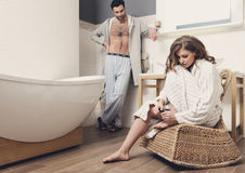 Couple in the bathroom Stock Photos