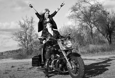 Young beautiful couple and bike Stock Photo