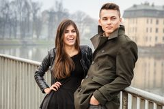 Young beautiful couple in the city Royalty Free Stock Photos