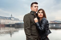 Young beautiful couple in the city Stock Photo