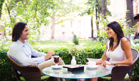 Young beautiful couple drinking coffee Stock Photo