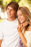 Young beautiful couple enjoying a day on the park Stock Photo