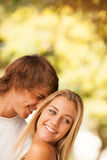 Young beautiful couple enjoying a day on the park Stock Images