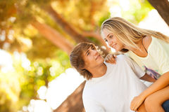 Young beautiful couple enjoying a day on the park Stock Image