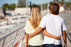 Young beautiful couple enjoying a walk royalty free stock photos