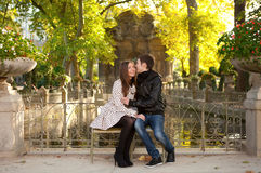 Young beautiful couple at fall. Young beautiful couple in the Luxembourg garden at fall. Paris, France stock image