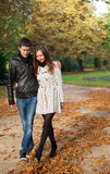 Young beautiful couple at fall. Young beautiful couple in the Luxembourg garden at fall. Paris, France stock images