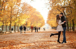 Young beautiful couple at fall. Young beautiful couple in the Luxembourg garden at fall. Paris, France stock photos