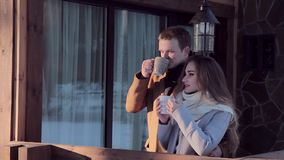 Young beautiful couple hipsters celebrate Valentine`s Day in a country house stock footage