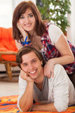 Young beautiful couple at home Stock Photos