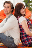 Young beautiful couple at home Royalty Free Stock Photography