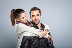 Young Beautiful Couple Hugging Royalty Free Stock Photography