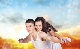 Young beautiful couple  hugging Royalty Free Stock Image