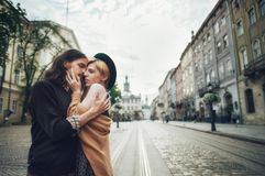 Young beautiful couple husband in a shirt and a woman in a dress stock images
