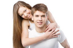 Young beautiful couple isolated on white Stock Image