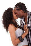Young  beautiful couple kissing. Young  beautiful african american couple kissing Stock Image