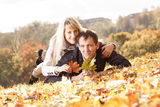 Young beautiful couple is laying Stock Image