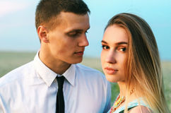 Young beautiful couple in love outdoor Royalty Free Stock Images