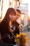 Young Beautiful Couple in Love Outdoor Backlit Stock Image