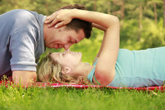 Young beautiful couple in love outdoors Stock Photography