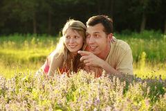 Young beautiful couple in love outdoors Stock Image