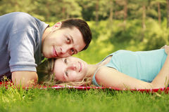 Young beautiful couple in love outdoors Stock Photos