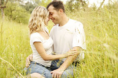 Young beautiful couple in love outdoors Royalty Free Stock Photo