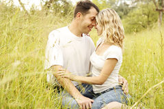 Young beautiful couple in love outdoors Royalty Free Stock Images
