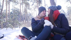 Young and beautiful couple in love walking in the winter woods. They kiss and hug. The girl red scarf stock footage